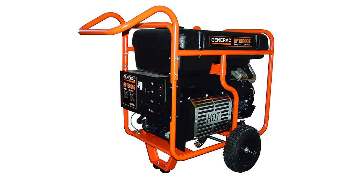 Generac 5734 GP15000E Electric Start Gas Powered Portable Generator image