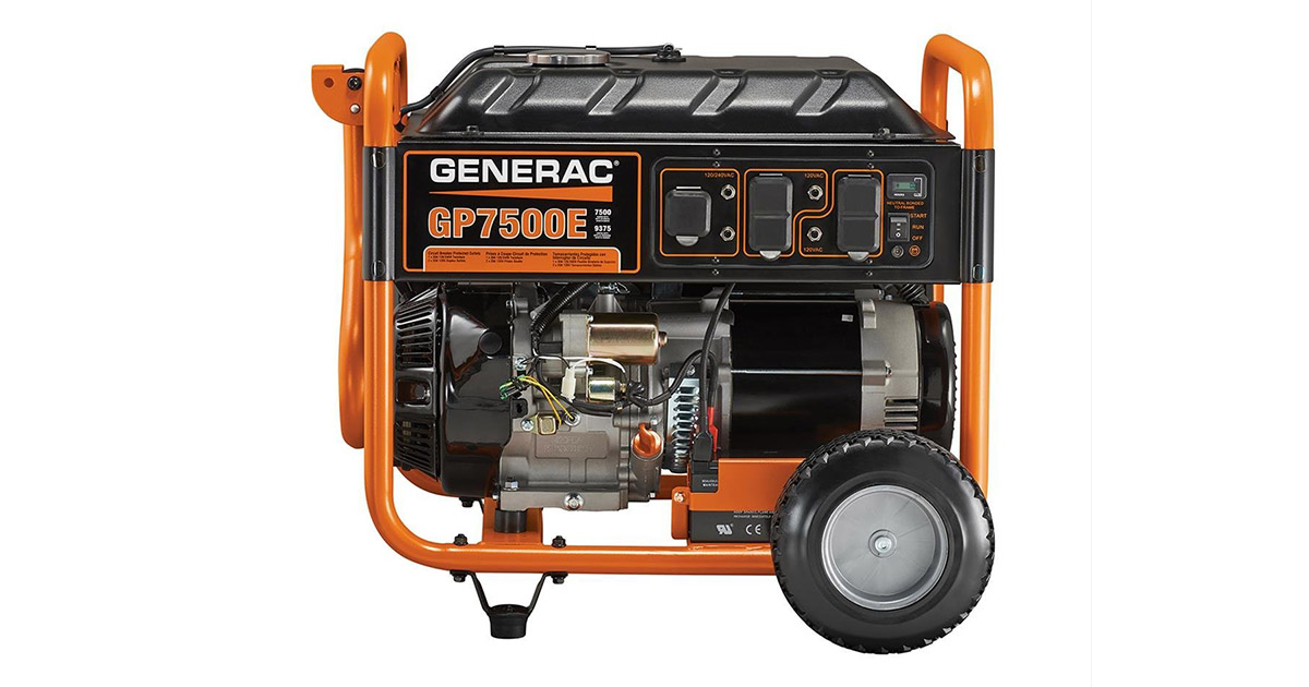Generac 5978 GP7500E Electric Start Gas Powered Portable Generator image