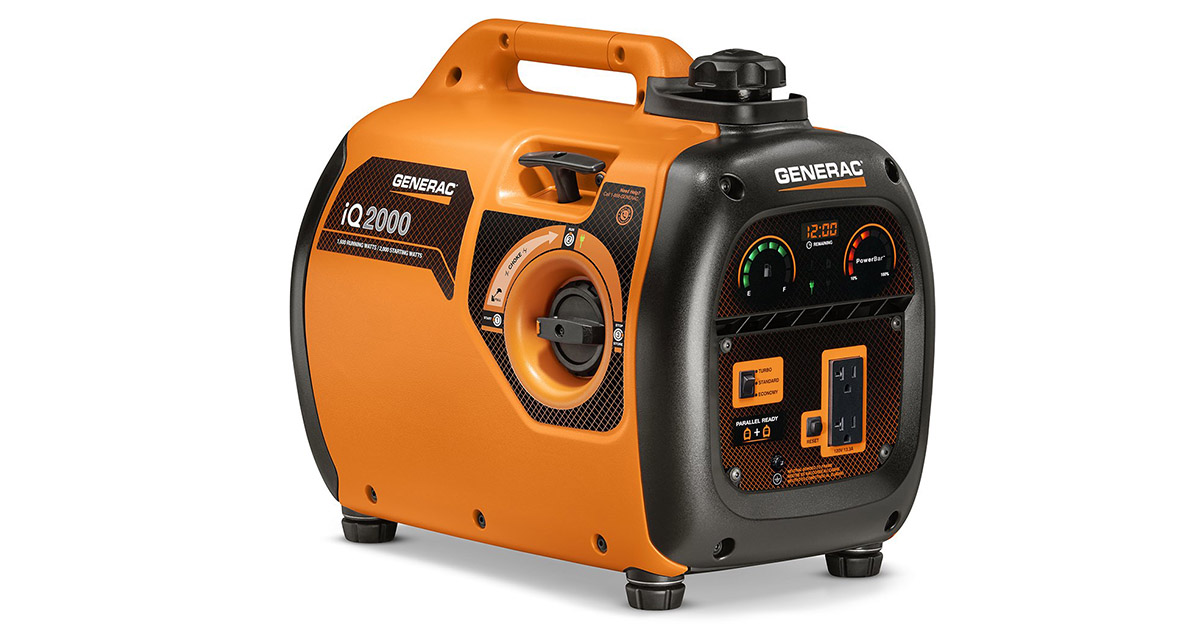 Generac 6866 iQ2000 Super Quiet 1600 Running Watts 2000 Starting Watts Gas Powered Inverter Generator image