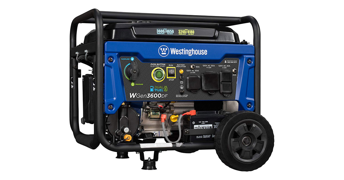 Westinghouse WGen3600DF Dual Fuel Gas and Propane Electric Start Portable Generator image